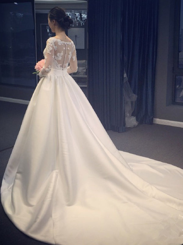 Long Sleeves Floor-Length Chapel Lace Hall Wedding Dress