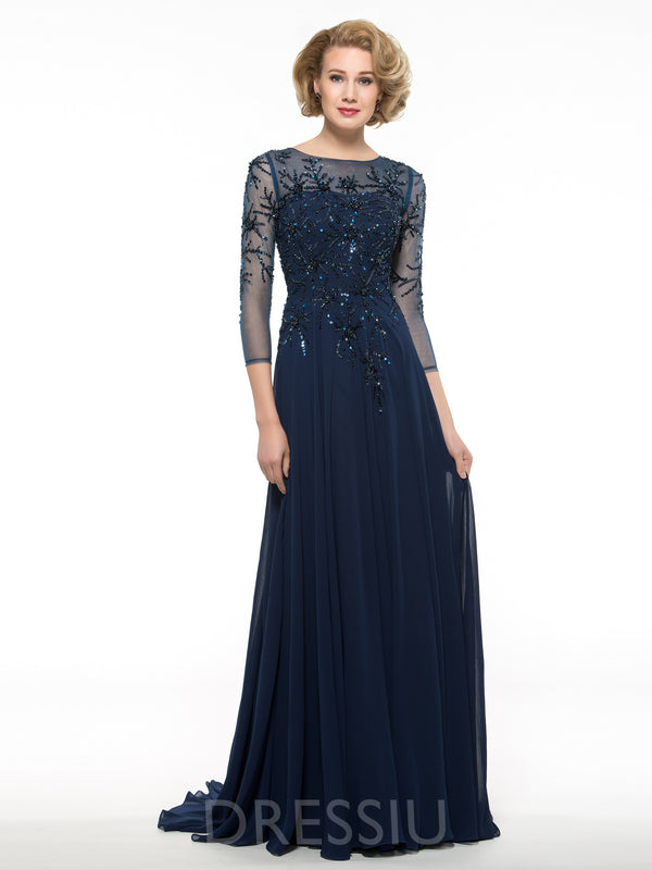 3/4 Length Sleeves A-Line Floor-Length Beading Mother Of The Bride Dress