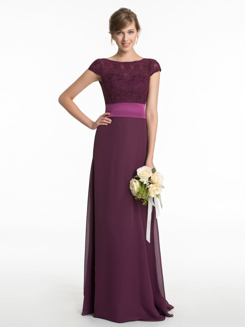 Lace Short Sleeves A-Line Floor-Length Bridesmaid Dress