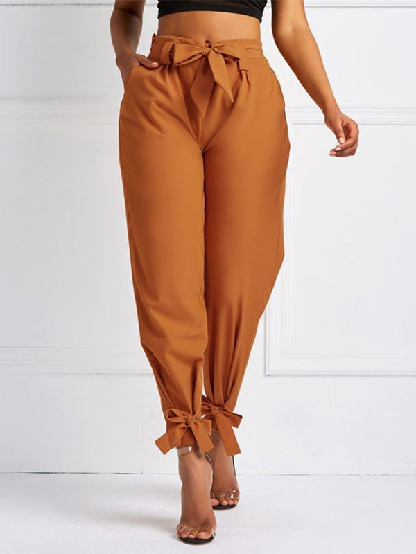 Plain Loose Pleated Mid Waist Harem Pants Casual Pants