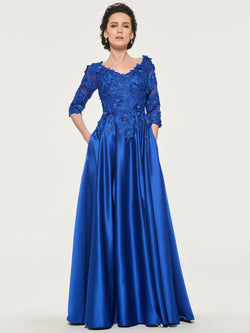 V-Neck Lace Half Sleeves Floor-Length Mother Of The Bride Dress