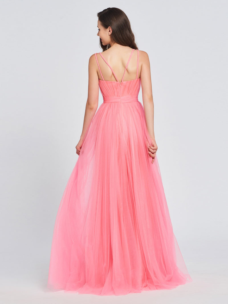 Sleeveless A-Line Appliques Floor-Length Prom Dress