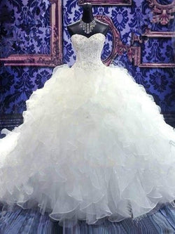 Sleeveless Ball Gown Sweetheart Cascading Ruffles Luxurious Organza Wedding Dress