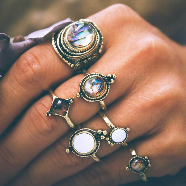Alloy Vintage Gemmed Holiday Rings