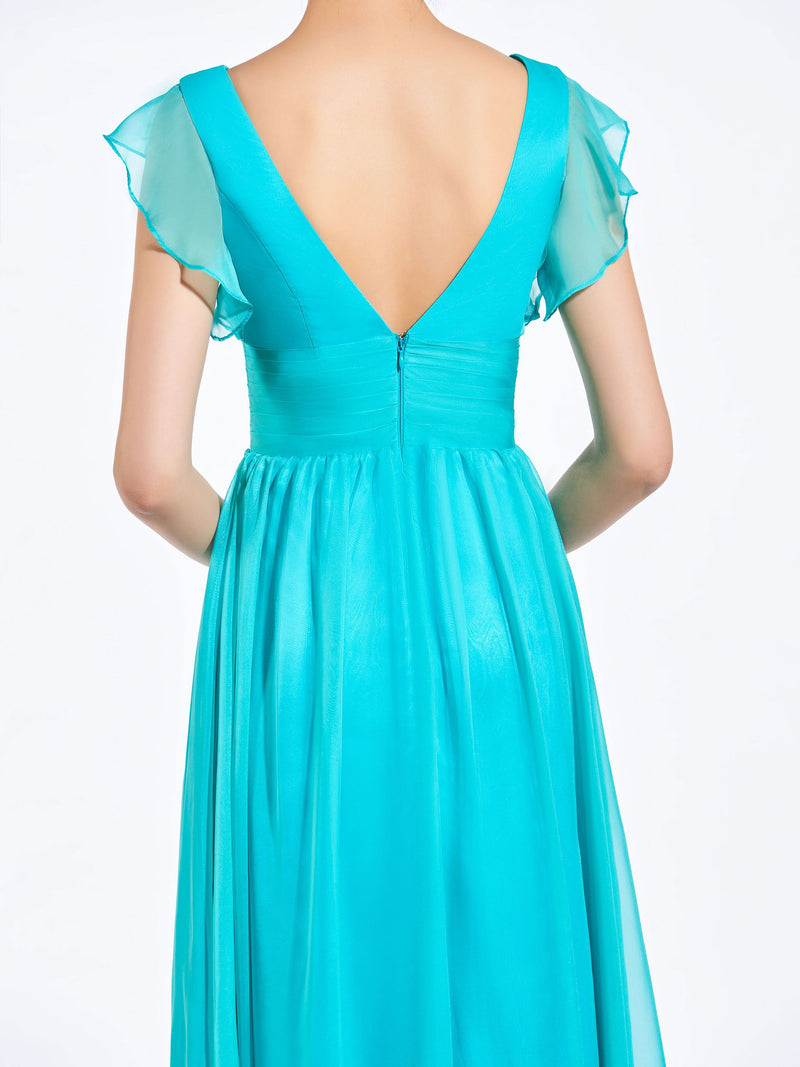 A-Line Floor-Length Pleats V-Neck Bridesmaid Dress