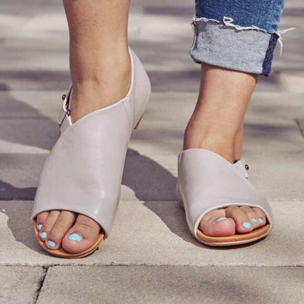 Buckle Heel Covering Open Toe Flat With Casual Plain Sandals
