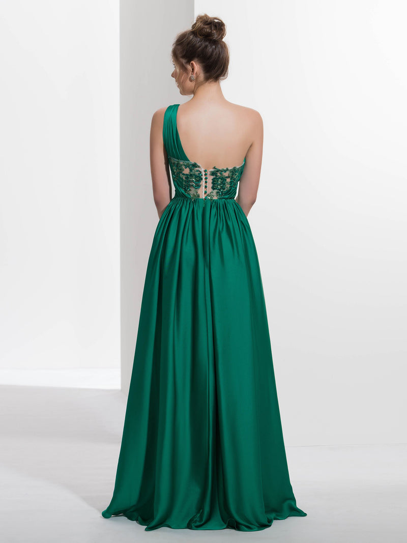 Split-Front A-Line Floor-Length Sleeveless Formal Dress
