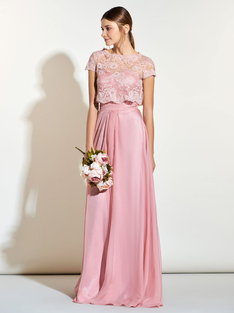 Lace Floor-Length Sweetheart Sleeveless Bridesmaid Dress