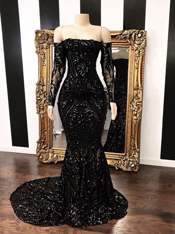 Amazing Black Long Sleeve Prom Dresses | 2019 Mermaid Sequins Long Evening Gowns