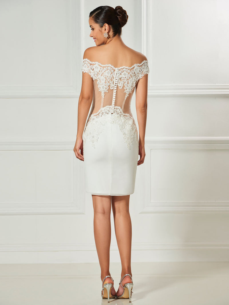 Beading Off-The-Shoulder Knee-Length Sheath/Column Cocktail Dress