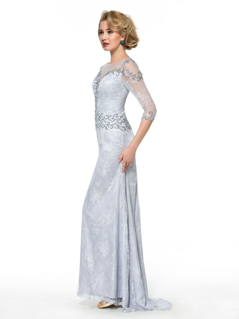 3/4 Length Sleeves Floor-Length Sweep/Brush Trumpet/Mermaid Formal Dress