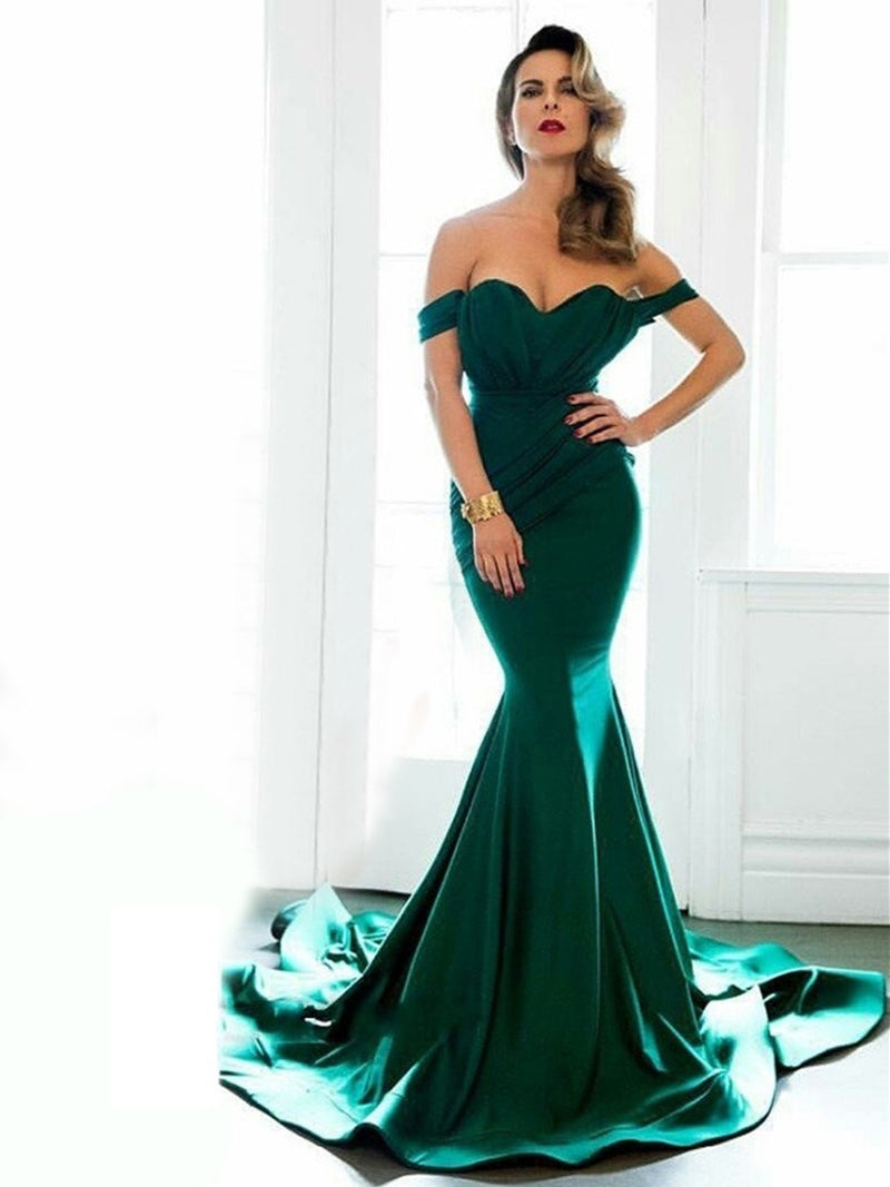 Off-The-Shoulder Court Trumpet/Mermaid Cap Sleeves Evening Dress