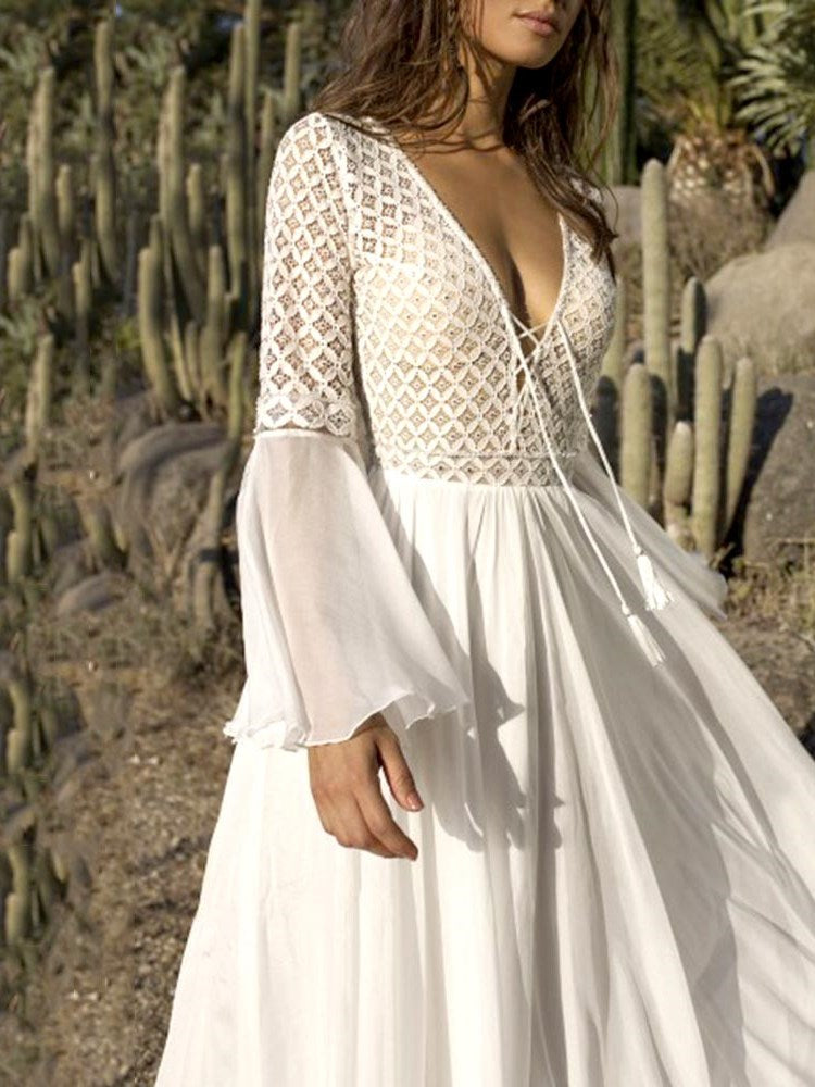 Lace-Up Long Sleeve Chiffon Bohemian Maxi Dress