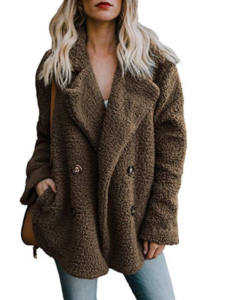 Double-Breasted Loose Fall Mid-Length Teddy Women's Overcoat