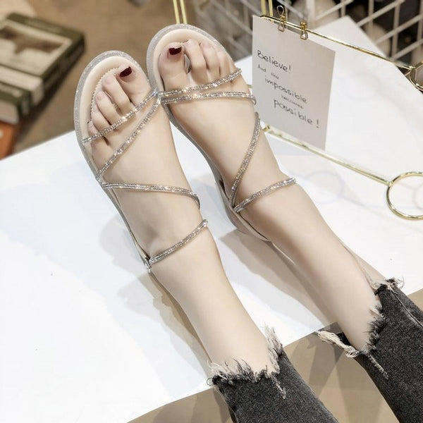 Open Toe Strappy Buckle Block Heel Low-Cut Upper Rhinestone Sandals