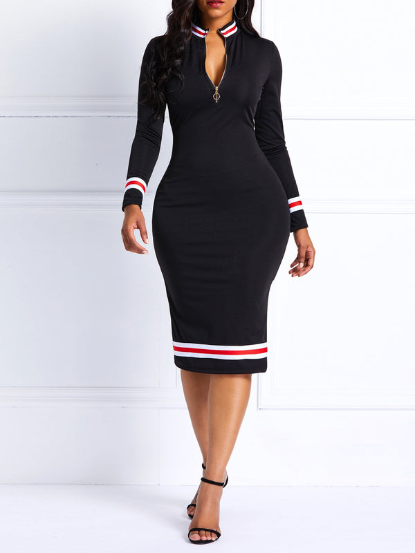 Ladies's Long Sleeve Zipper Knee-Length Bodycon Dress