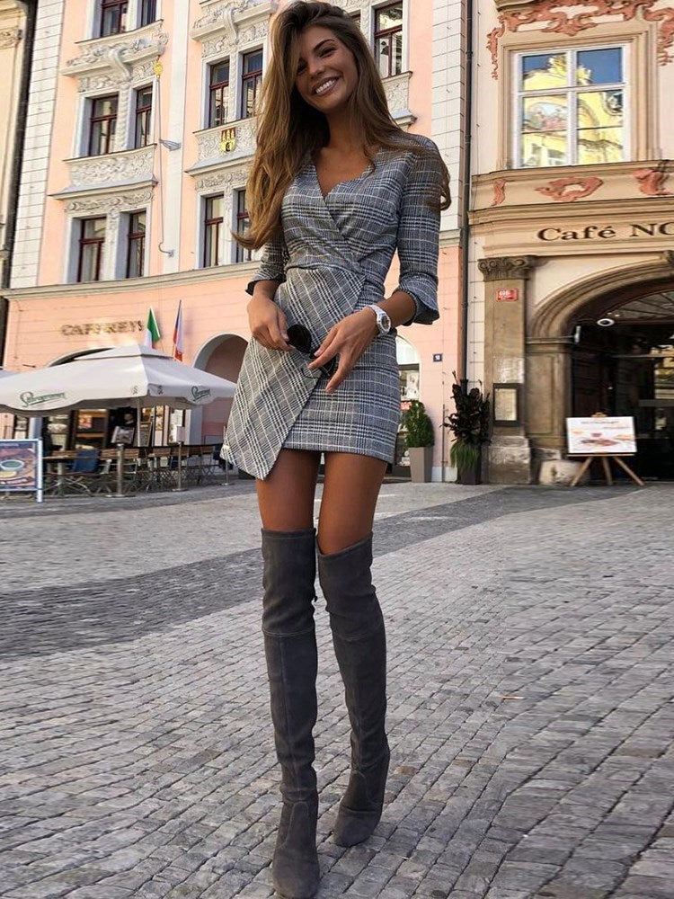 Three-Quarter Sleeve V-Neck Above Knee High-Waist Plaid Dress