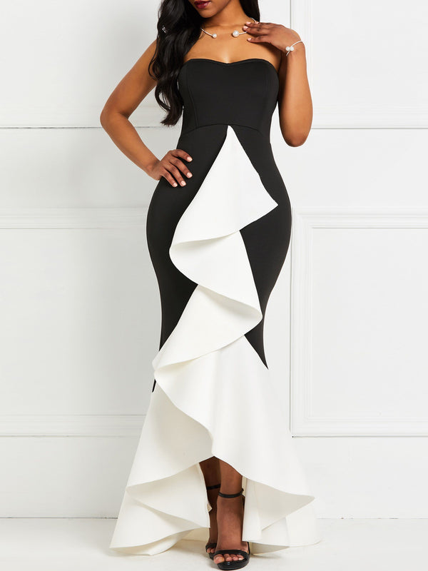 Asymmetric Floor-Length Sleeveless Color Block Asymmetrical Dress