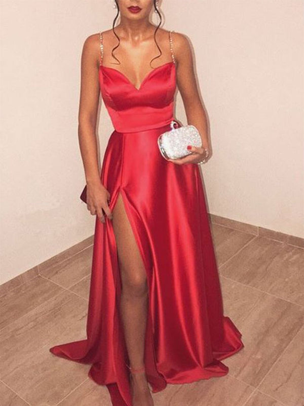A-Line Beading Split-Front Spaghetti Straps Red Long Prom Dress