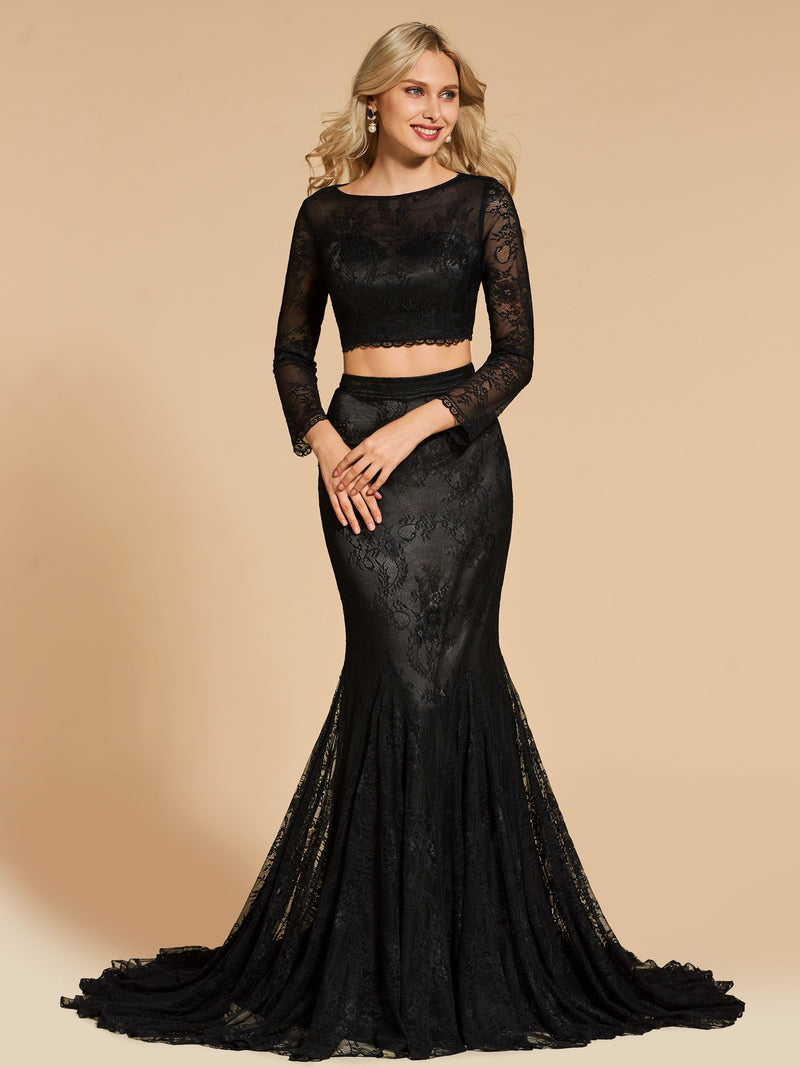 Trumpet/Mermaid Floor-Length Scoop Lace Evening Dress