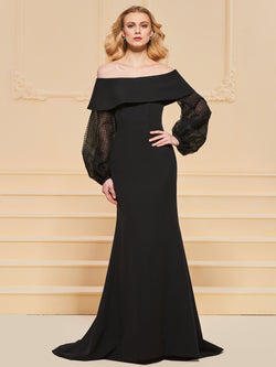 Trumpet/Mermaid Long Sleeves Floor-Length Off-The-Shoulder Evening Dress