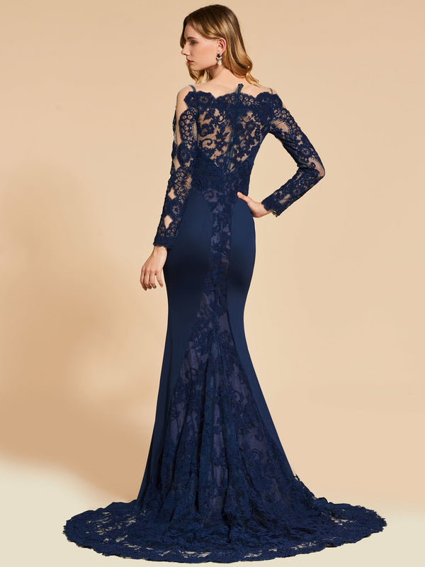 Mermaid Long Sleeves Lace Scalloped-Edge Evening Dress
