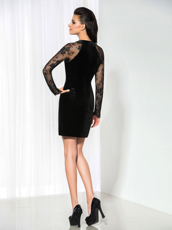 Jewel Lace Long Sleeves Sheath/Column Cocktail Dress