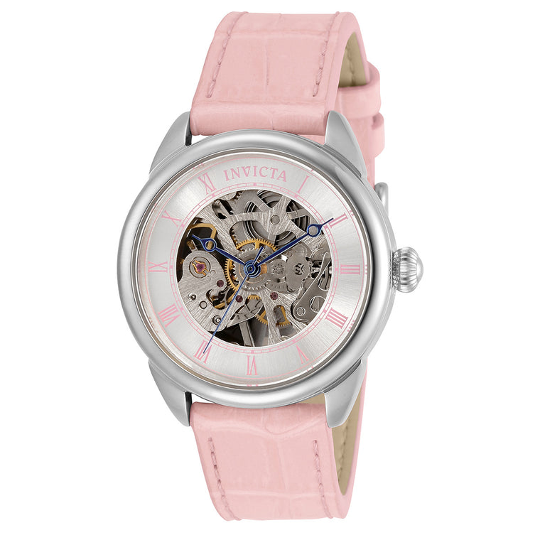 Ladies 'Specialty' Mechanical Skeleton Leather Strap Watch