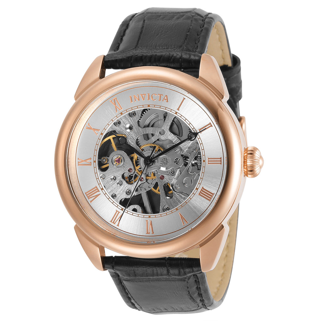 Men's 'Specialty Elegant' Mechanical Skeleton Leather Strap Watch