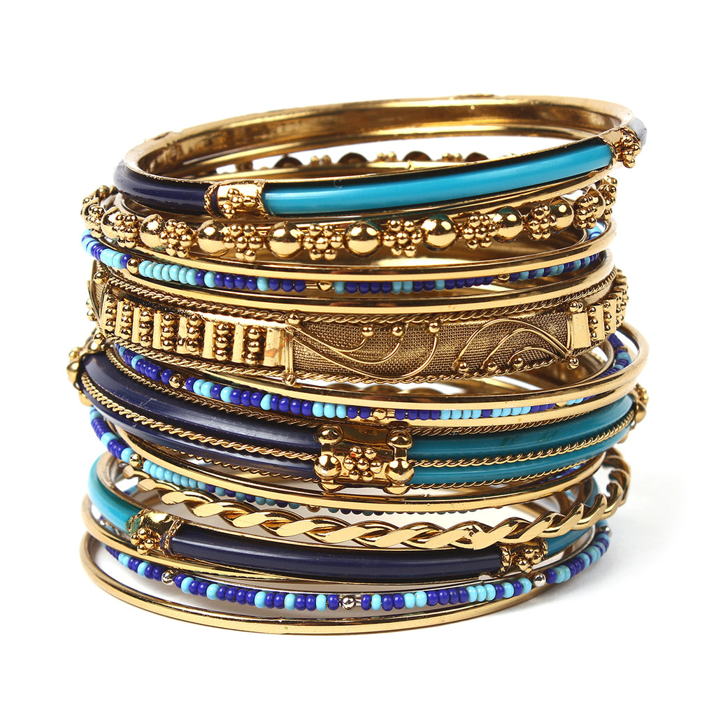 Monaco 18-pc Bangle Set - Blue/Turquoise