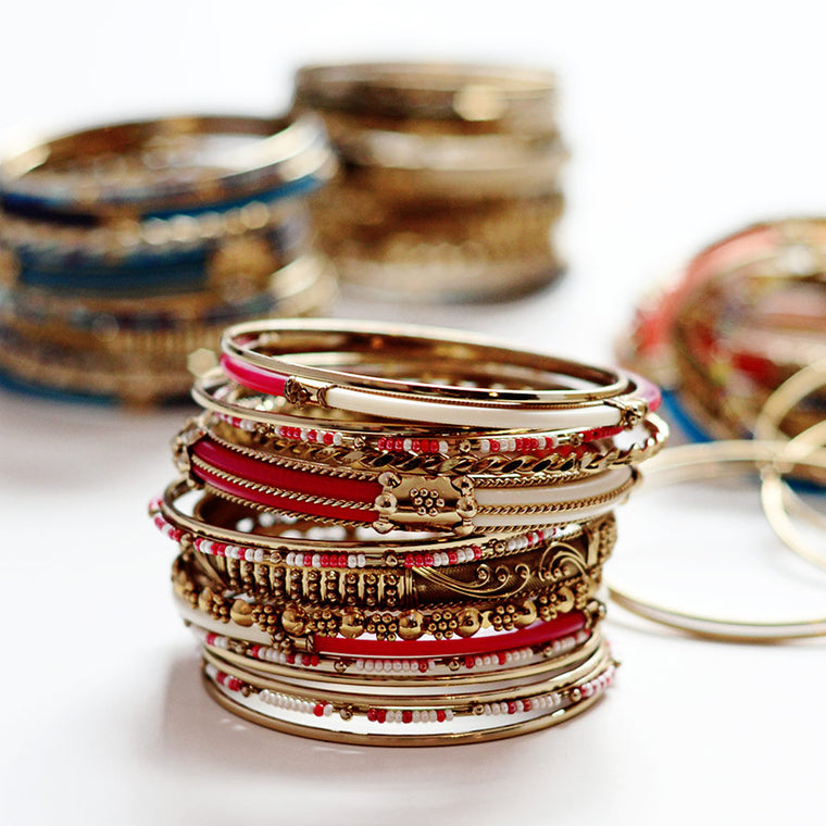 Monaco 18-pc Bangle Set - Ruby/Ivory