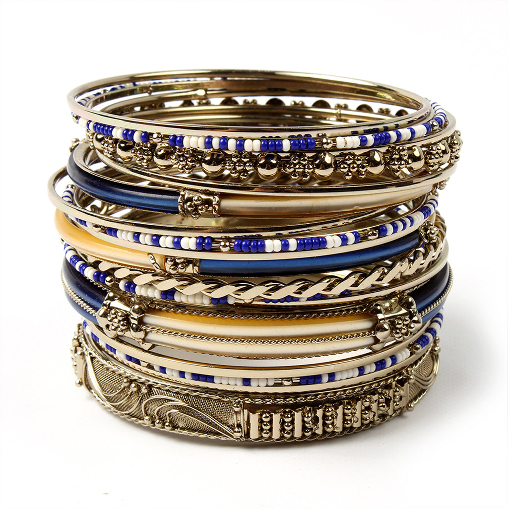 Monaco 18-pc Bangle Set - Blue/Ivory
