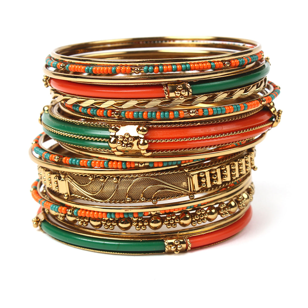 Monaco 18-pc Bangle Set - Orange/Green
