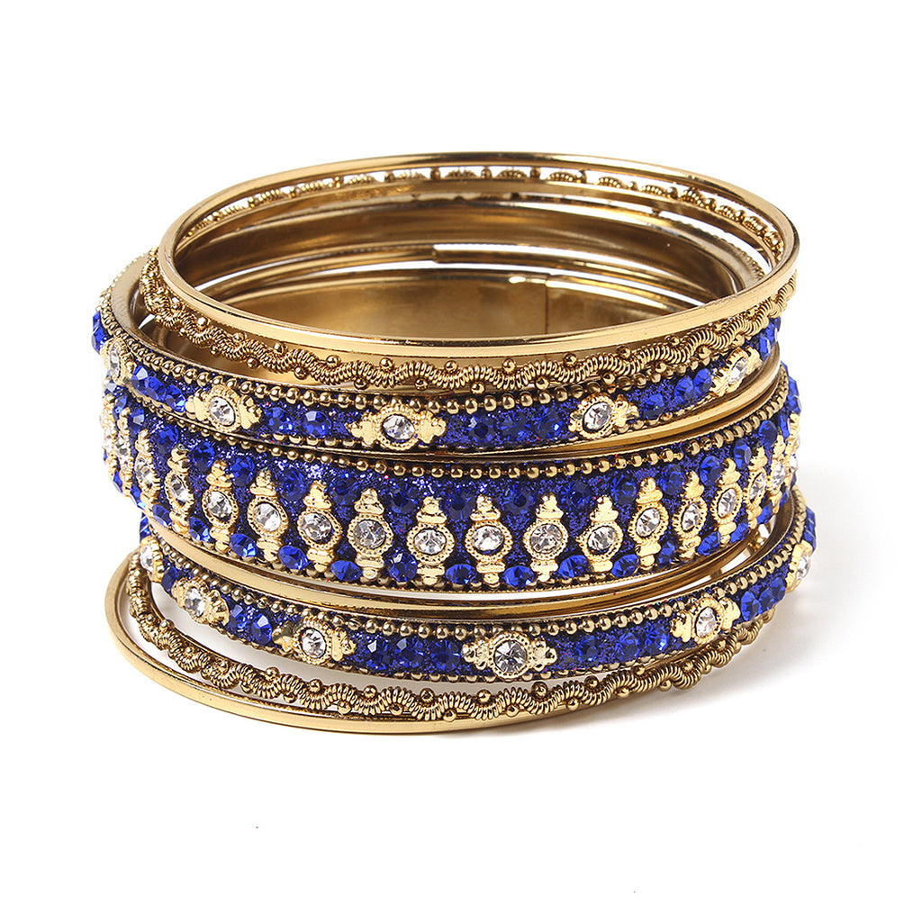 Glitzy 9-pc Bangle Set - Blue