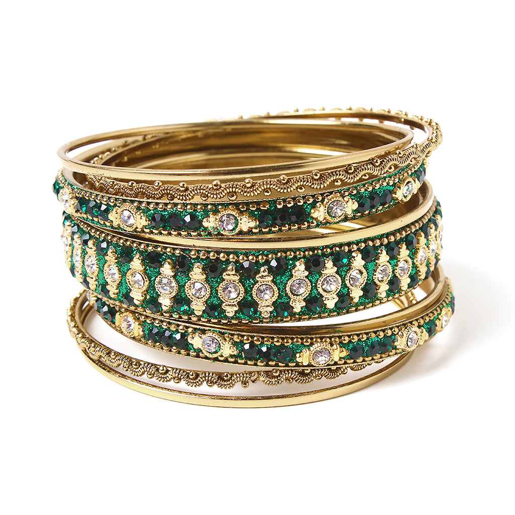 Glitzy 9-pc Bangle Set - Emerald