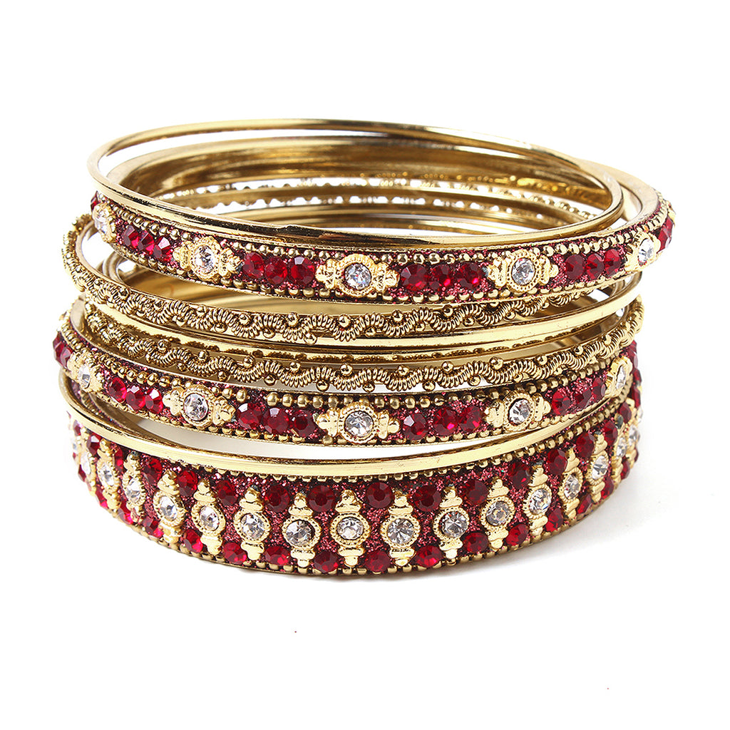 Glitzy 9-pc Bangle Set - Ruby
