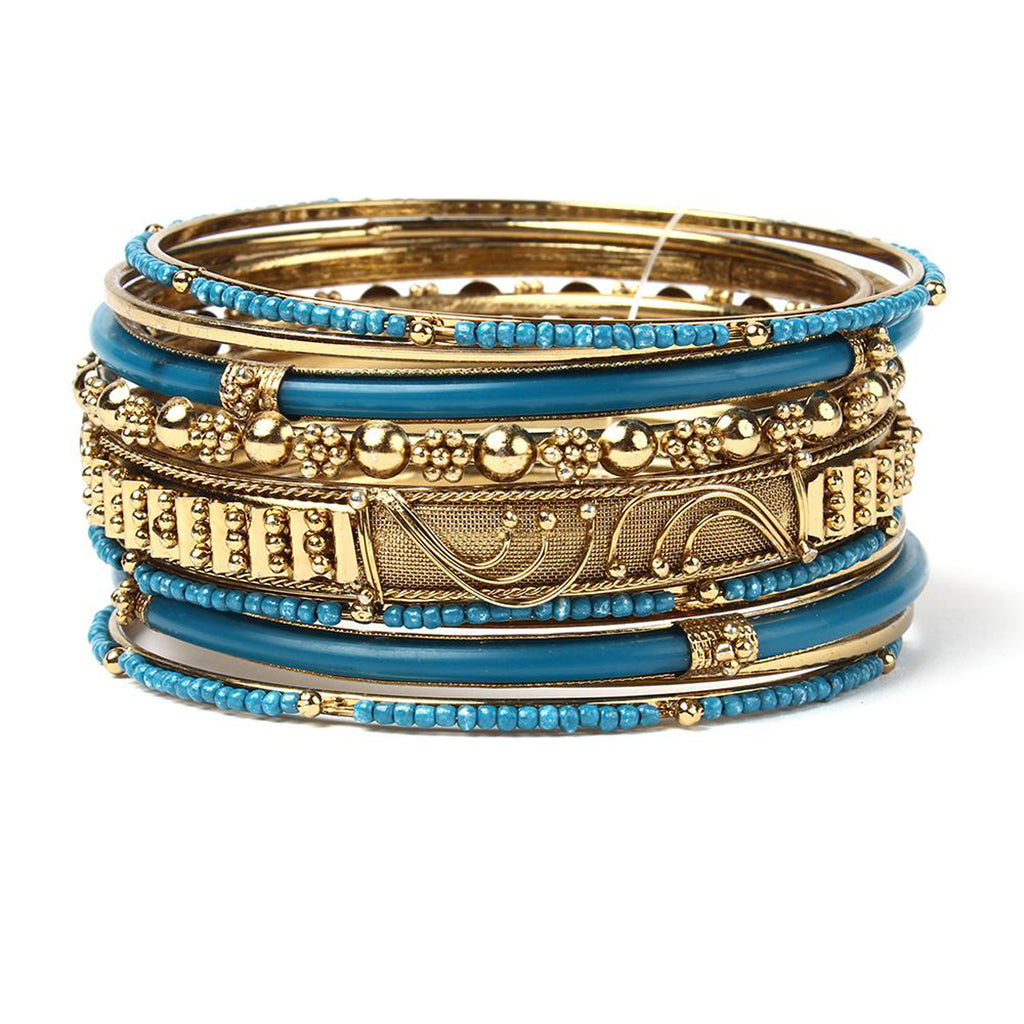 Marseille 10-Pc Bangle Set - Turquoise