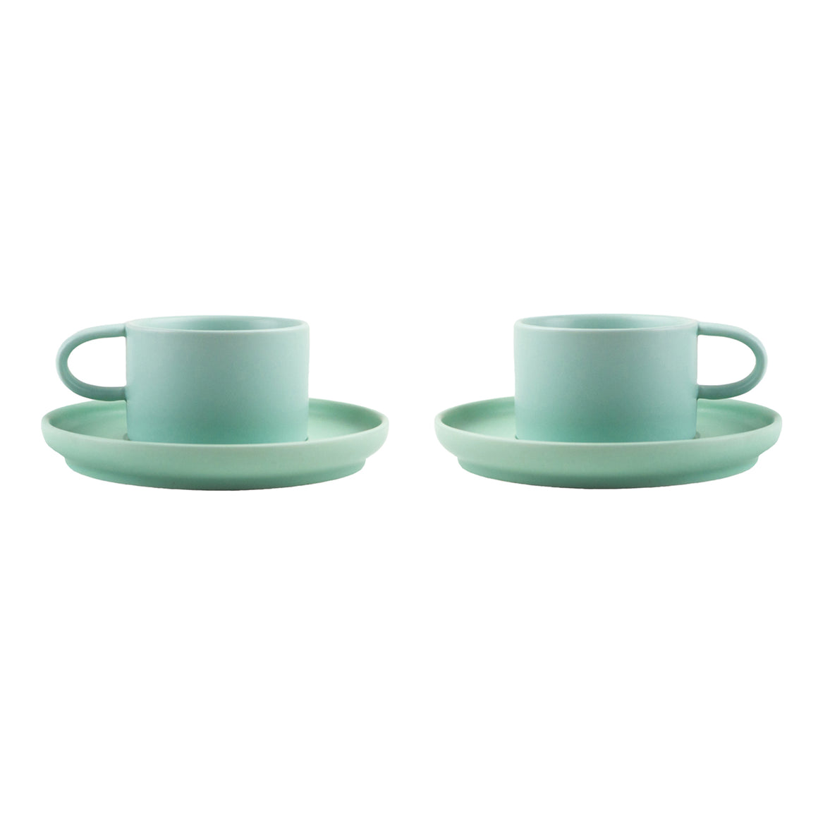 Nordic Design Cup & Saucer Set, 2 pack - Mint Green