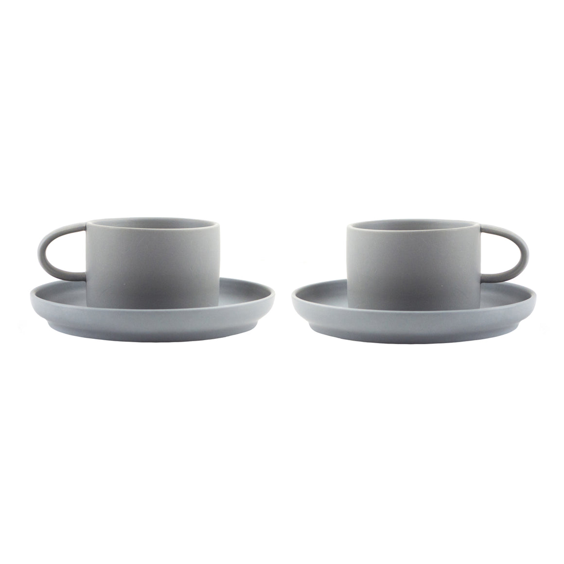 Nordic Design Cup & Saucer Set, 2 pack - Gray