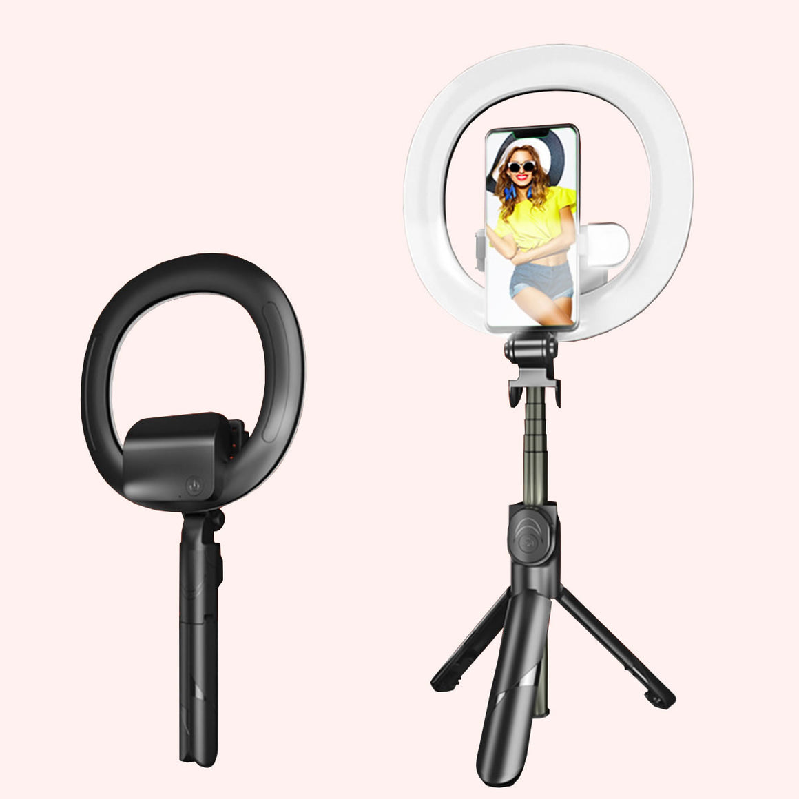 Self Video Portrait Halo Light Stand With Dual LED Light And Bluetooth Remote - Black