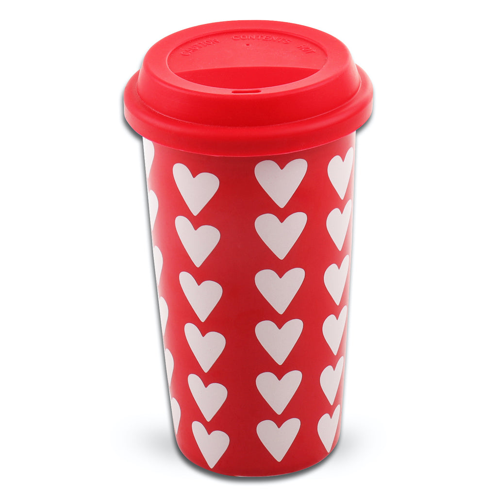 Valentine's Ceramic Travel Mug With Lid