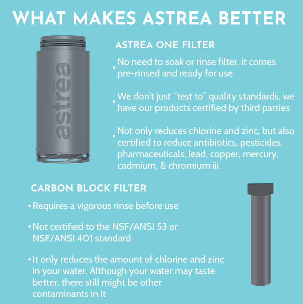 astrea ONE Premium Stainless Steel Filtering Water Bottle, 20 Oz. - Black/Black + Filter