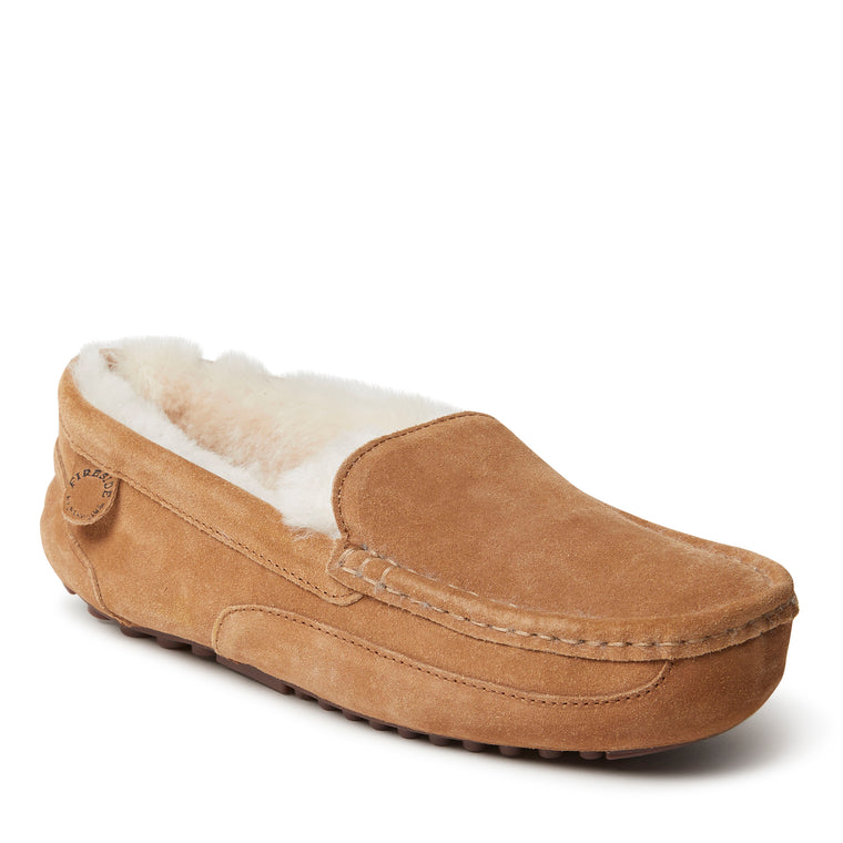 Fireside By Dearfoams Men's Melbourne Genuine Shearling Moccasin Slipper