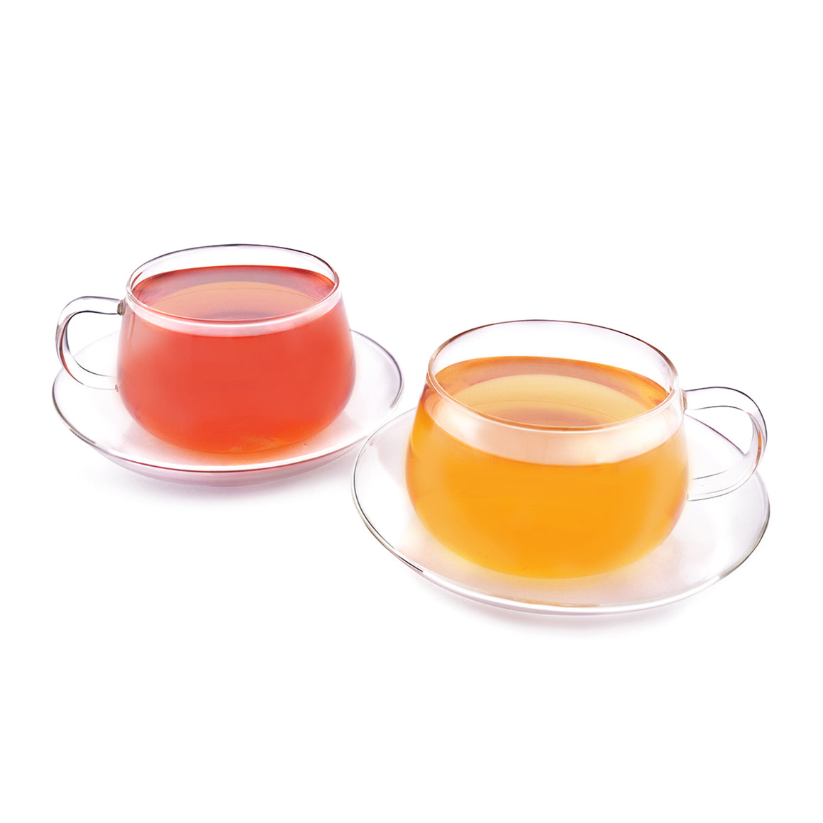 GLITTER - Set of 2 Tea Cup & Saucer Borosilicate Glass, Microwave, Refrigerator & Dishwasher Safe
