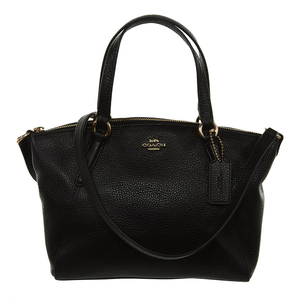 Coach Small Leather Satchel Handbag - Black