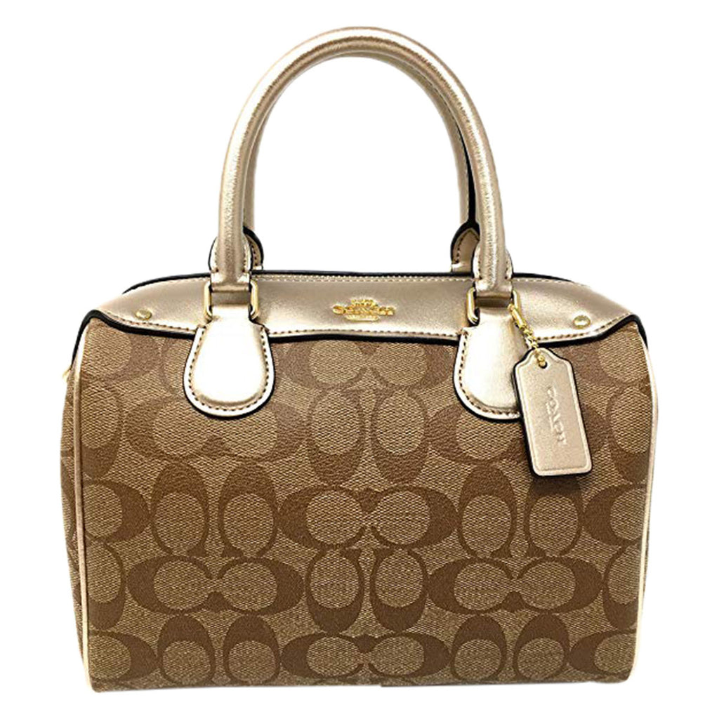 Coach Signature Metallic Mini Satchel Bag- Khaki Platinum