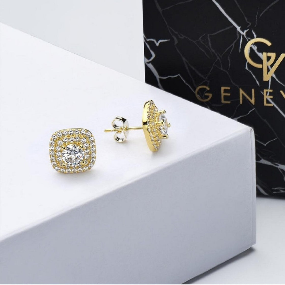 Genevive Classic 14K Gold Plated Halo Stud Earrings