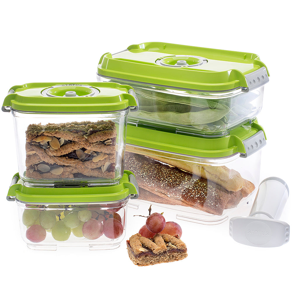 Food Saving 5PC Set Vacuum Container -Green