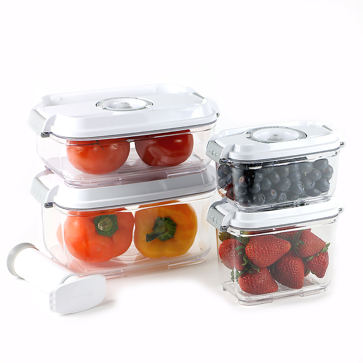Food Saving 5PC Set Vacuum Container -White