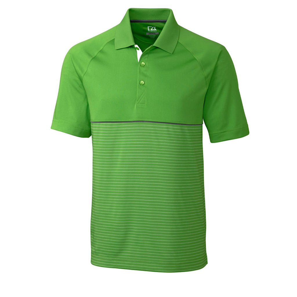 Junction Stripe Hybrid Polo - Cilantro Green/White